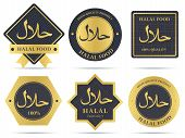 Set of halal food products labels and badges design. Vector quality symbols and stickers for certified tags poster