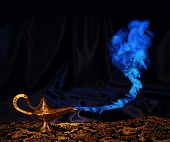 magic Aladdin genie lamp with blue smoke, but no genie face poster
