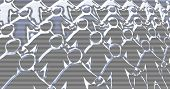 Weird abstract crowd scene background of faceless paperchain men. Scanline overlay. Plenty of scope for further image manipulation. poster
