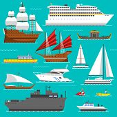 Ship, boat vessel, warship and cargo ship, cruise ship. Yacht, wherry, hovercraft. Water ship transport sea boat set. Super set of water ships carriage maritime transport in modern flat design vector poster