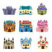 Cartoon fairy tale castle tower icon. Cute cartoon castle architecture. Vector illustration fantasy house fairytale medieval castle. Princess cartoon castle cartoon stronghold design fable isolated. poster