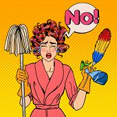 Exhausted Stressed Housewife with Mop and Cleaning Brush Crying. Pop Art. Vector illustration poster