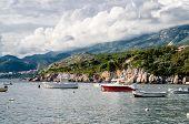 Naves in Bay Milocer regionis Мontenegro,Adriatic sea poster