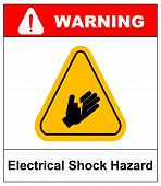 warning electrical shock hazard banner high voltage sign or electrical safety symbol danger electric fence keep off keep away, stop high voltage no entry vector illustration poster