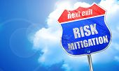 Risk mitigation sign, 3D rendering, blue street sign poster