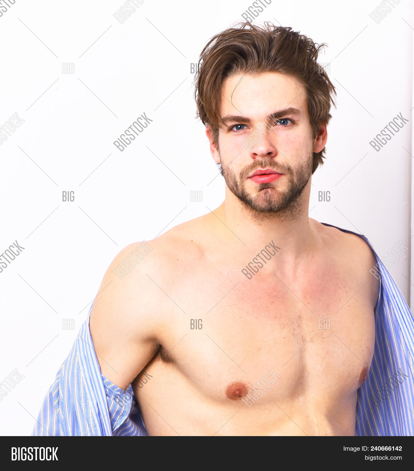Fit Guy With Sexy Body In Home Or Bath Clothes. Masculinity, Spa And Morning