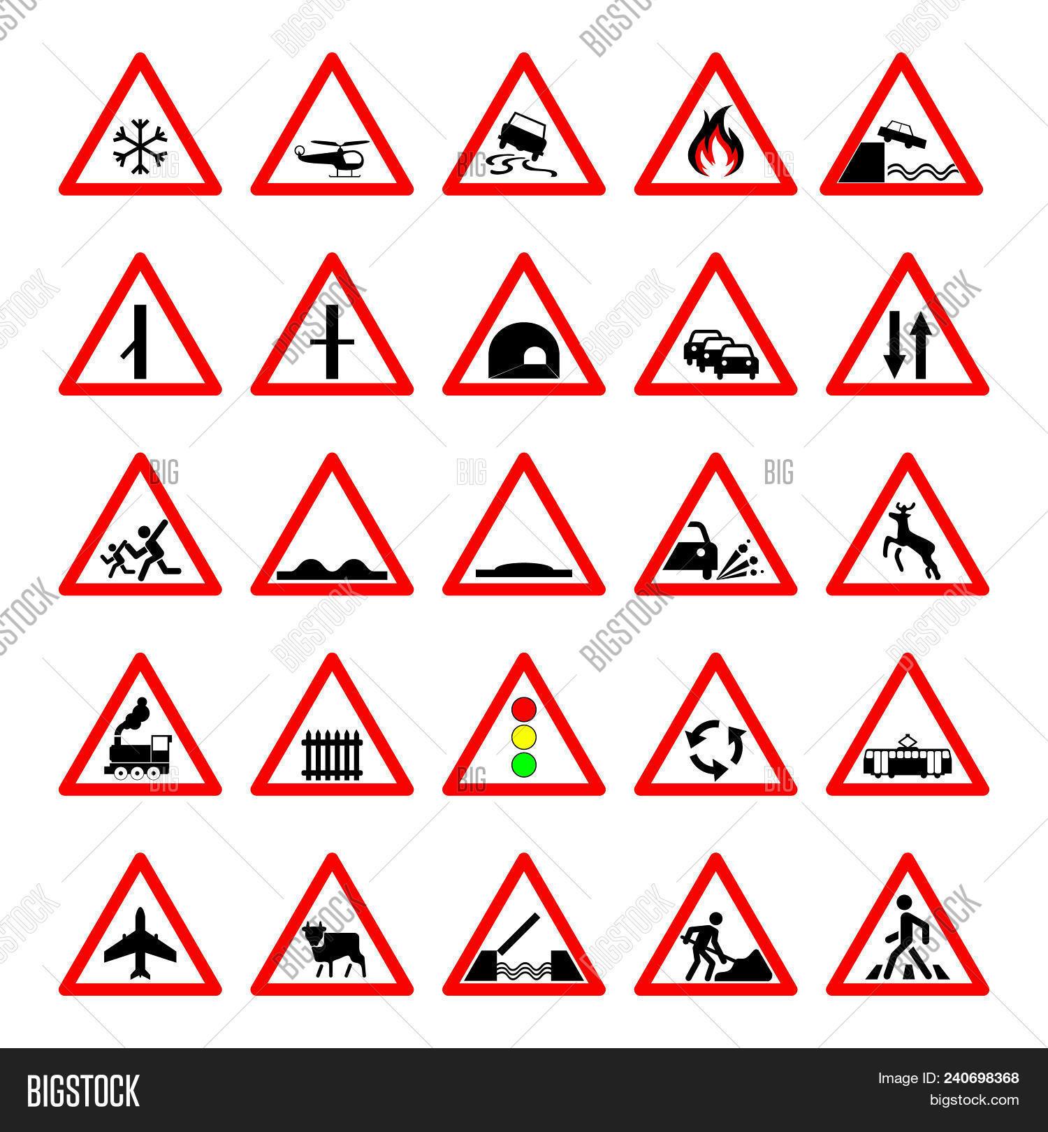 Triangle Road Signs >> Set Road Hazard Image Photo Free Trial Bigstock