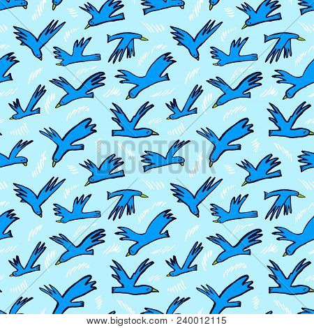 Doodle Birds Seamless Pattern. Background  With Funny Flying Animals In The Sky. Vector Illustration