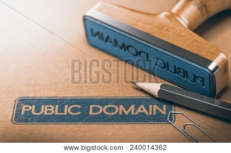 3d Illustration Of A Rubber Stamp With The Text Public Domain Stamped On Paper Background