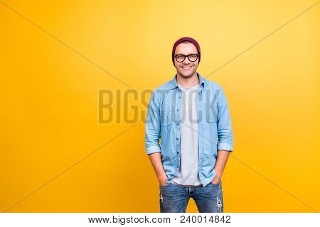 Portrait With Copy Space Of Smiling, Happy Guy In Jeans Wear, Glasses, Red Cap Holding Hands In Pock