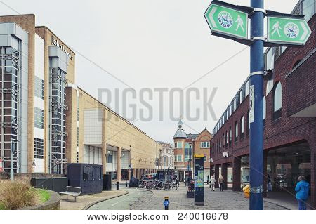 Kingston Upon Thames, United Kingdom - April 2018: John Lewis (left) And Tk Maxx (right) Shopping Ma