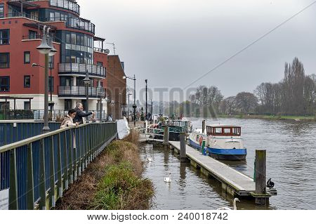 Kingston Upon Thames, United Kingdom - April 2018: Riverside Walk Promenade By The River Thames In K