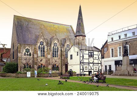 Kingston Upon Thames, United Kingdom - April 2018: Stone Building Of Everyday Church Kingston Locate