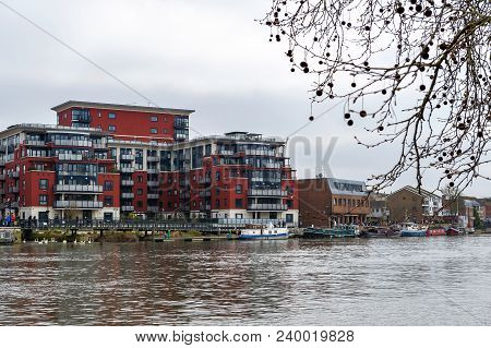 Kingston Upon Thames, United Kingdom - April 2018: Riverside Walk Promenade By The River Thames In K