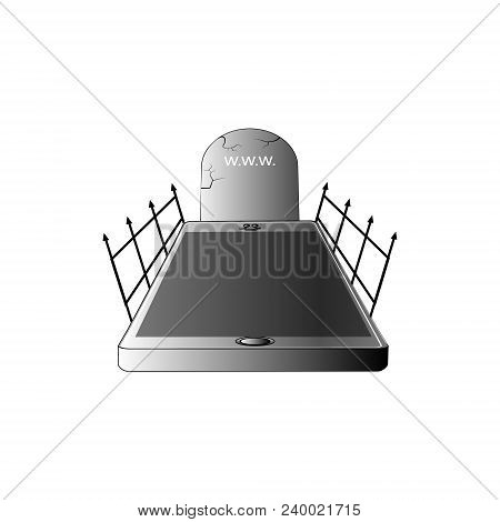 Gravestone Smartphone Icon. 3d Vector Illustration. Happy Halloween In Phone Style Black Color With