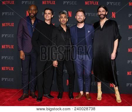 LOS ANGELES - MAY 6:  Karamo Brown, Antoni Porowski, Tan France,  - SEE RANK Bobby Berk, Jonathan Van Ness at the Netflix FYSEE Kick-Off Event at Raleigh Studios on May 6, 2018 in Los Angeles, CA