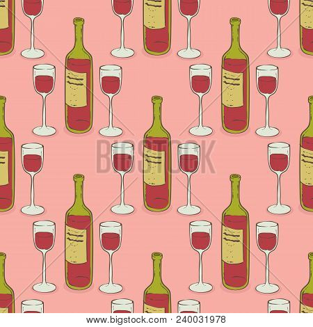 Wine Glasses And Wine Bottles Seamless Pattern. Stemware And Wine On A Pink Background