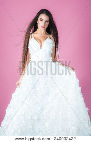 prom party with girl in white dress. prom and wedding ceremony concept poster