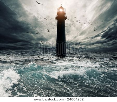 Stormy sky over flooded lighthouse poster