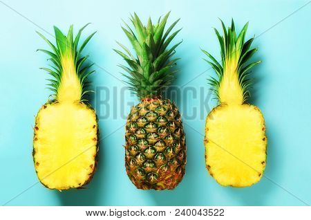 Bright Pineapple Pattern For Minimal Style. Top View. Pop Art Design, Creative Concept. Copy Space.