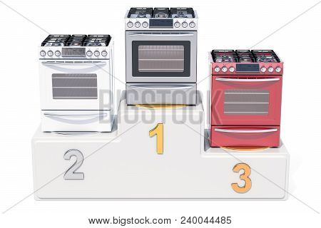Gas Stove Ratings Concept. Winners Podium With Gas-stoves, 3d Rendering