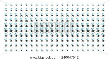 Radio Bug Icon Halftone Pattern, Designed For Backgrounds, Covers, Templates And Abstract Concepts.