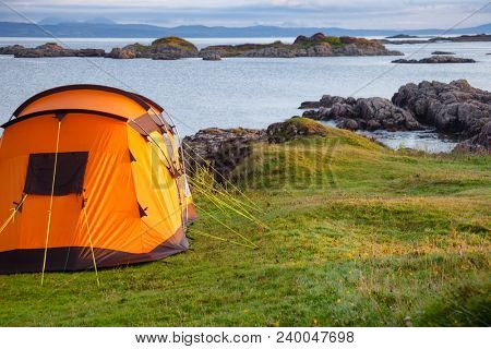Camping tent on the west coast of the Highlands of Scotland, UK