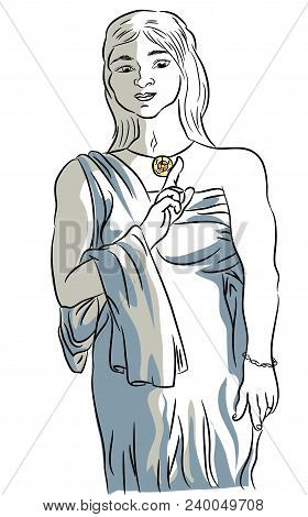 Ancient Roman Woman Costume.  Illustration Of Woman With An Ancient Roman Costume.