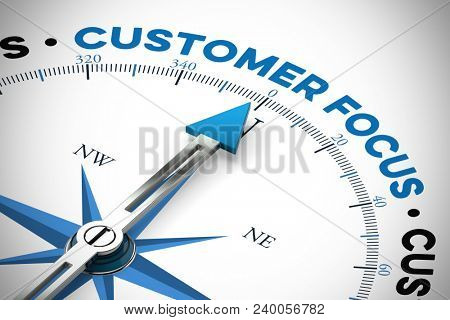 Customer focus as directon on a compass for a satisfaction concept (3D Rendering)