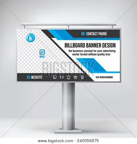 Billboard design, outdoor advertising template, layout for photo and text placement, creative vector background poster