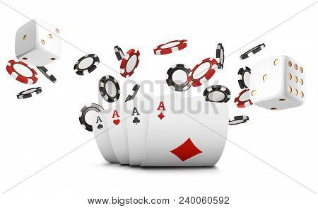 Playing Cards, Poker Chips And Dice Fly Casino On White Background. Poker Casino Vector Illustration