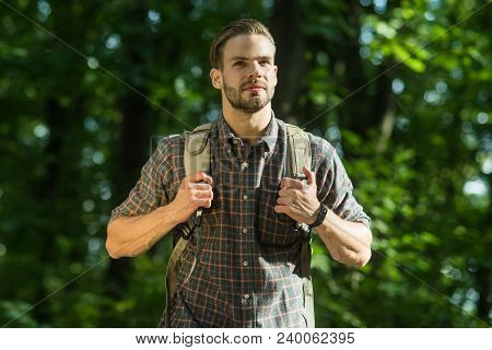 Adventure, Travel, Tourism, Hike, Lifestyle Concept - Man Traveler With Backpack, Happy Hiker Man In