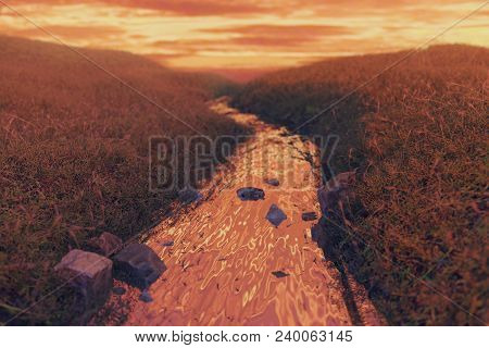3d Rendering Of Flowing Stream At Grassland In Front Of Beautiful Sunset