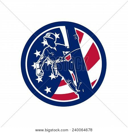 Icon Retro Style Illustration Of An American Electrical Power Lineman Or Lineworker On Utility Pole
