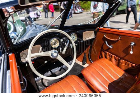 Cockpit From A German Oldtimer Car With Brown Seats