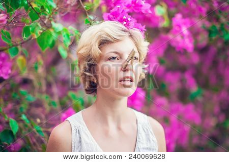 The Beautiful Blonde With A Clothespin On Her Nose. Runny Nose. Allergy