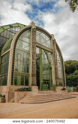 Paris, Northern France - July 10, 2017. Winter Garden Facade, A Deco Greenhouse For Non-native Plant