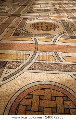 Paris, France - July 11, 2017. Far-fetched Decoration Mosaic On Floor On The Entrance Hall At The Pe
