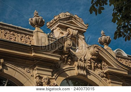 Paris, France - July 11, 2017. Close-up Of The Far-fetched Building Decoration In A Sunny Day At The