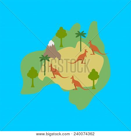 Australia Map Flora And Fauna. Animals And Plants On Mainland. Vector Illustration