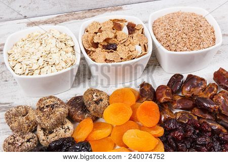 Ingredients Or Products Containing Natural Vitamins, Minerals And Dietary Fiber, Concept Of Healthy