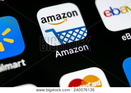 Sankt-petersburg, Russia, May 10, 2018: Amazon Shopping Application Icon On Apple Iphone X Screen Cl