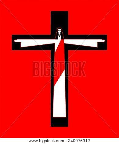 Jesus Crucified Cross. Gods Son. Biblical Religious Vector Illustration