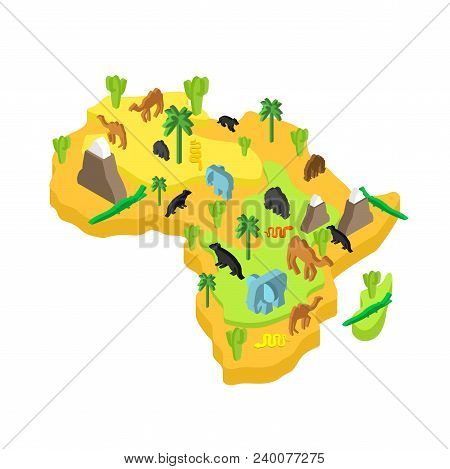 Africa Map Animal Isometric Style. Flora And Fauna. Vector Illustration