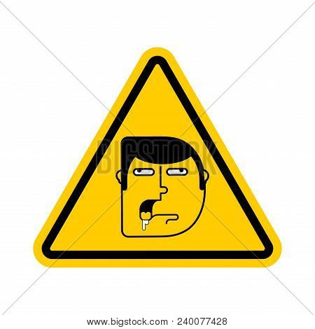 Attention Stupid. Caution Blunt. Road Yellow Warning Sign. Look Out Fool. Vector Illustration