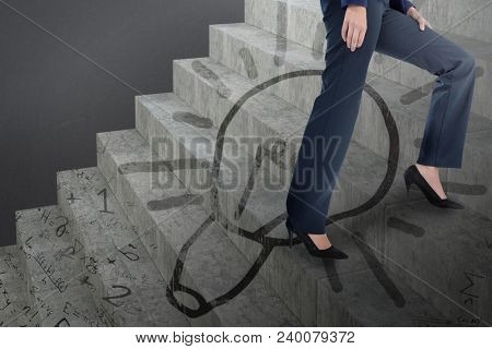 Composite image of conceptual image of businesswoman in heels climbing steps