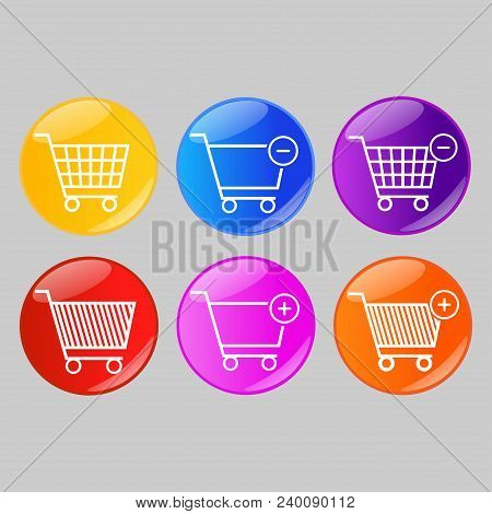 Set Of Glossy Shopping Cart Buttons Or Badges On Gray Background. Product Promotions. Shopping Carts
