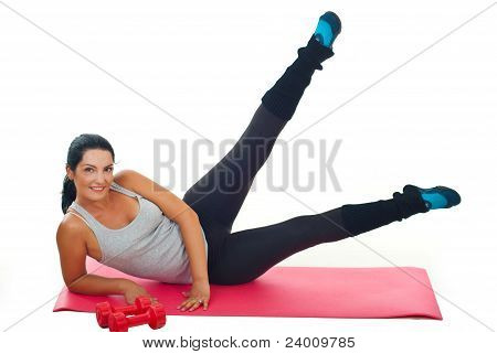 Woman Exercise With Legs Up