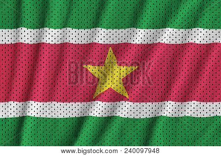 Suriname flag printed on a polyester nylon sportswear mesh fabric with some folds poster