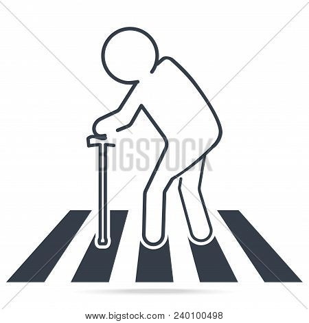 Pedestrian Crossing Sign, Elderly Crossing Road Sign. Simple Line Icon Illustration.